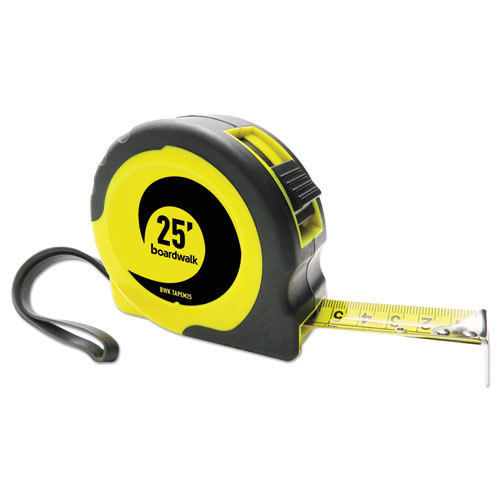 Easy Grip Tape Measure, 25 ft, Plastic Case, Black and Yellow, 1/16 Graduations