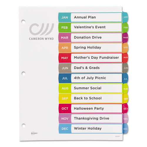 AveryR Customizable TOC Ready Index Multicolor Dividers 5 Tab Letter 3