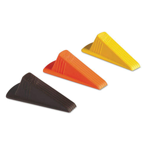 Master Caster® Giant Foot Doorstop, No-Slip Rubber Wedge, 3 1/2w x 6 3/4d x 2h, Brown