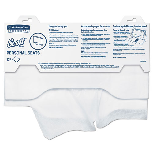 Personal Seats Sanitary Toilet Seat Covers, 15 x 18, White, 125/Pack, 24 Packs/Carton