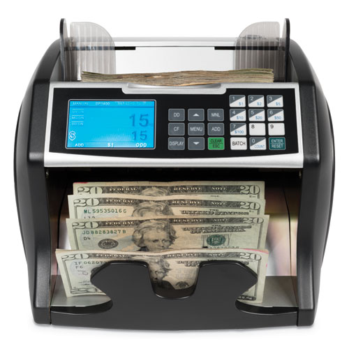 Electric Bill Counter w/Counterfeit Detection, 900-1400 Bills/Min, Black/Silver