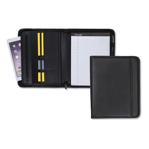 Professional Zippered Pad Holder, Pockets/Slots, Writing Pad, Black