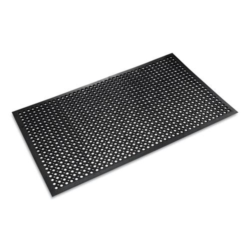 Safewalk-Light Drainage Safety Mat, Rubber, 36 x 60, Black | by Plexsupply