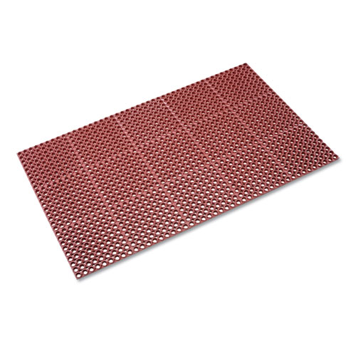 Safewalk Heavy-Duty Anti-Fatigue Drainage Mat, Grease-Proof, 36 x 60, Terra Cotta