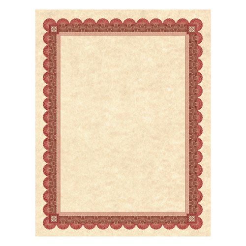 Parchment Certificates, Academic, Copper w/ Red & Brown Border, 8 1/2 x 11, 25/Pack | by Plexsupply