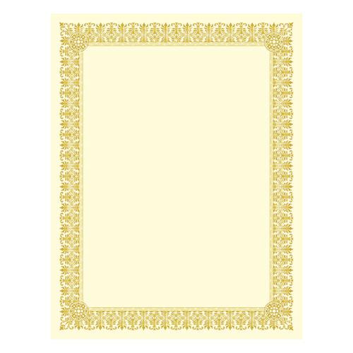 Premium Certificates, Ivory , Fleur Gold Foil Border, 66 lb, 8.5 x 11, 15/Pack | by Plexsupply