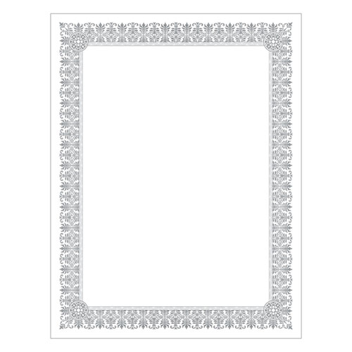 Premium Certificates, White, Fleur Silver Foil Border, 66 lb, 8.5 x 11, 15/Pack | by Plexsupply