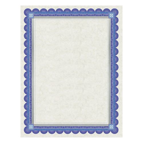 Parchment Certificates, Academic, Ivory w/ Blue & Silver-Foil Border, 8 1/2 x 11, 15/Pack | by Plexsupply