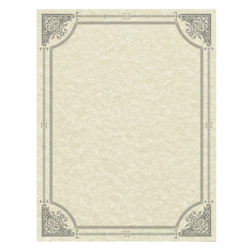 Parchment Certificates, Vintage, 8 1/2 x 11, Ivory w/ Silver-Foil Border, 50/Pack