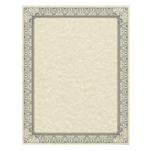 Parchment Certificates, Retro, 8 1/2 x 11, Ivory w/ Black  Silver-Foil Border, 50/Pack