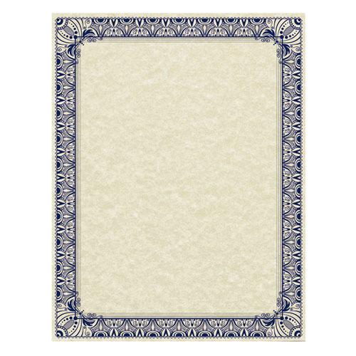 Parchment Certificates, Retro, 8 1/2 x 11, Ivory w/ Blue  Silver-Foil Border, 50/Pack