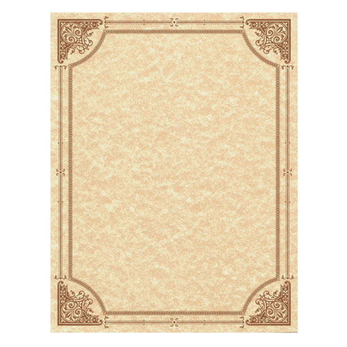 Parchment Certificates, Vintage, 8 1/2 x 11, Copper w/ Copper Border, 50/Pack
