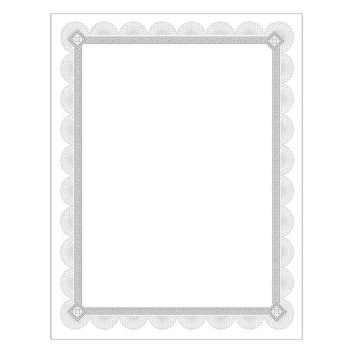 Premium Certificates, White, Spiro Silver Foil Border, 66 lb,  8,5 x 11, 15/Pack | by Plexsupply