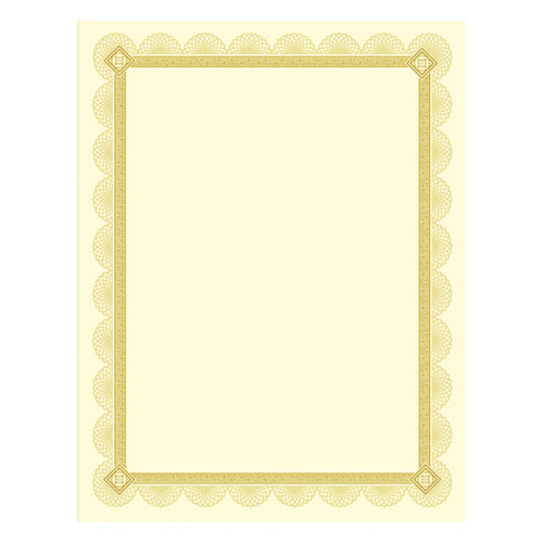 Premium Certificates, Ivory, Spiro Gold Foil Border, 66 lb,  8.5 x 11, 15/Pack | by Plexsupply