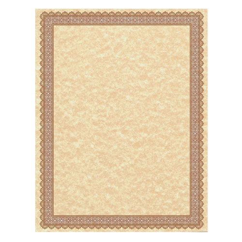 Parchment Certificates, Vintage, 8 1/2 x 11, Copper w/ Burgundy/Gold-Foil Border, 50/Pack