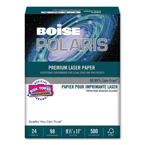 POLARIS Premium Laser Paper, 98 Bright, 24lb, 8.5 x 11, White, 500/Ream | by Plexsupply
