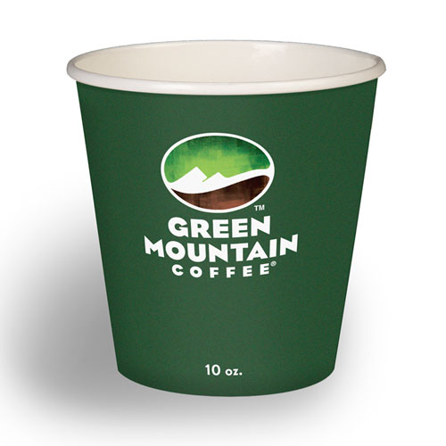Eco-Friendly Paper Hot Cups, 10oz, Green Mountain Design, Multi, 50/Pack