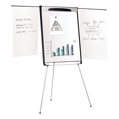 Tripod Extension Bar Magnetic Dry-Erase Easel, 39 to 72 High, Black/Silver