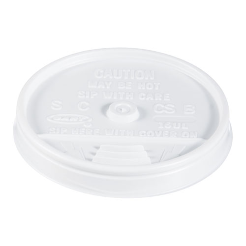 Plastic Lids, for 16oz Hot/Cold Foam Cups, Sip-Thru Lid, White, 1000/Carton
