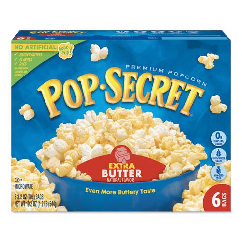 Pop Secret® Microwave Popcorn, Extra Butter, 3.2oz Bags, 6/Box