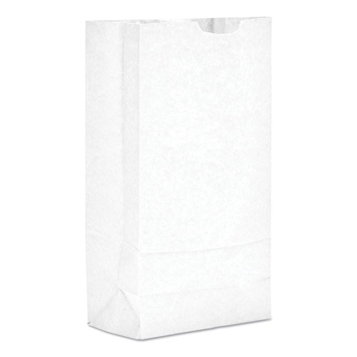 "Grocery Paper Bags, 35 lbs Capacity, #10, 6.31""w x 4.19""d x 13.38""h, White, 500 Bags BAGGW10500"