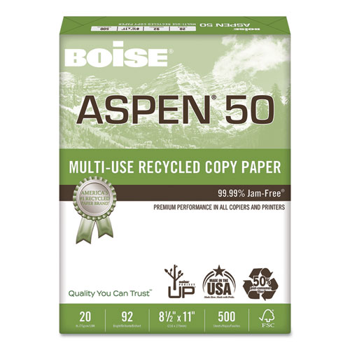 ASPEN 50 Multi-Use Recycled Paper, 92 Bright, 20lb, 8.5 x 11, White, 500 Sheets/Ream, 10 Reams/Carton