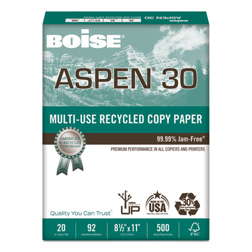 ASPEN 30 Multi-Use Recycled Paper, 92 Bright, 20lb, 8.5 x 11, White, 500 Sheets/Ream, 10 Reams/Carton | by Plexsupply