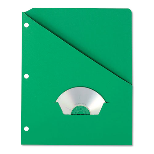 Slash Pocket Project Folders, 3-Hole Punched, Straight Tab, Letter Size, Green, 25/Pack | by Plexsupply
