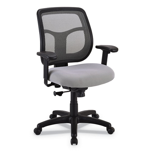 """Apollo Mid-Back Mesh Chair, 18.1"""" to 21.7"""" Seat Height, Silver Seat, Silver Back, Black Base"""