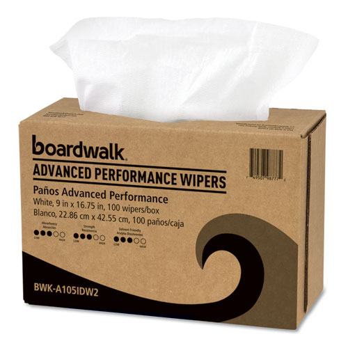 Advanced Performance Wipers, White, 9x16 3/4, 10 Pack Dispensers of 100, 1000/Ct
