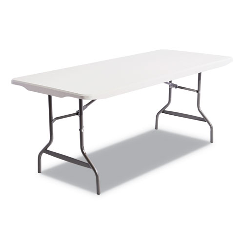 Resin Rectangular Folding Table, Square Edge, 72w x 30d x 29h, Platinum