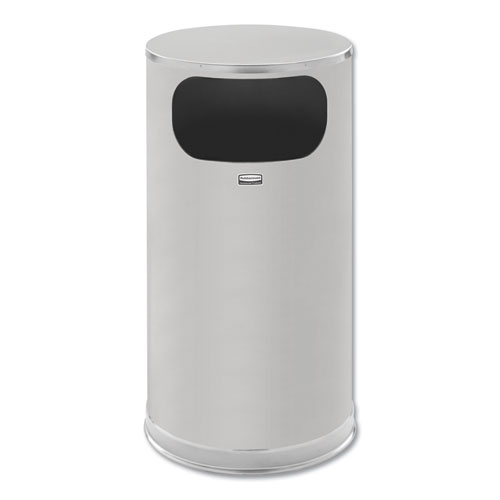 Rubbermaid® Commercial European and Metallic Side-Opening Receptacle, Round, 12 gal, Satin Stainless