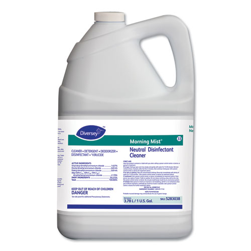 Diversey™ Morning Mist Neutral Disinfectant Cleaner, Fresh Scent, 1gal Bottle