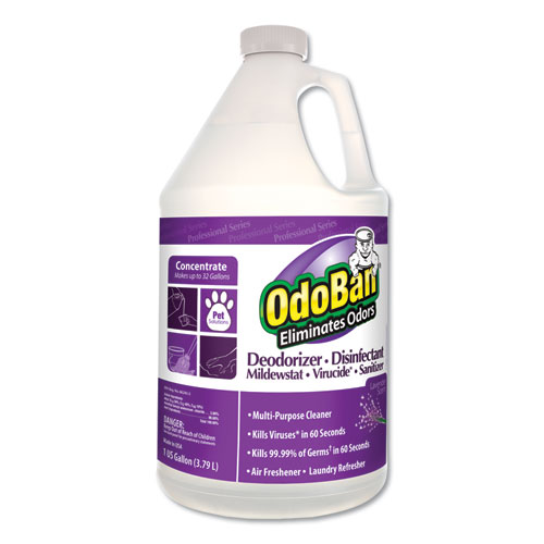Concentrate Odor Eliminator and Disinfectant, Lavender Scent, 1 gal Bottle, 4/Carton
