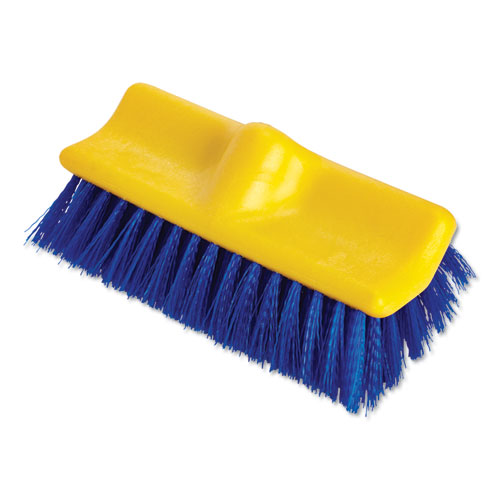Rubbermaid® Commercial Bi-Level Deck Scrub Brush, Polypropylene Fibers, 10 Plastic Block, Tapered Hole