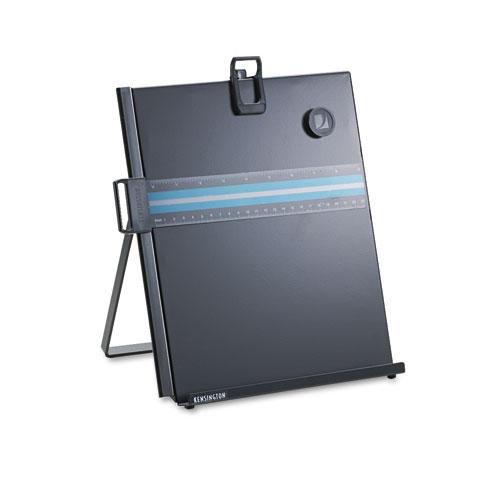 Letter-Size Freestanding Desktop Copyholder, Stainless Steel, Black | by Plexsupply