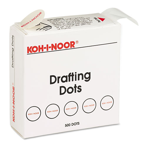 "Adhesive Drafting Dots, 0.88"" dia, Dries Clear, 500/Box 