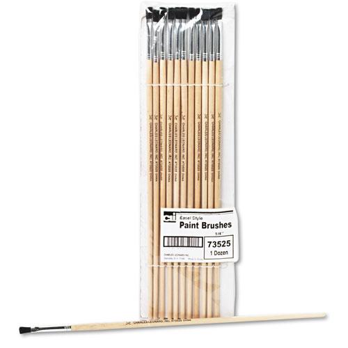 Charles Leonard® Long Handle Easel Brush, Size 4, Natural Bristle, Flat, 12/Pack