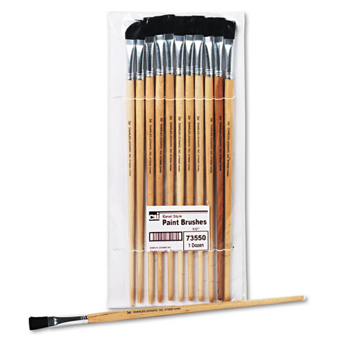 Long Handle Easel Brush, Size 12, Natural Bristle, Flat, 12/Pack | by Plexsupply