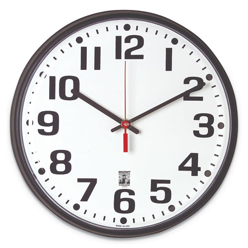 6645015573148 SKILCRAFT Self-Set Wall Clock, 12.75 Overall Diameter, Black Case, 1 AA (sold separately)