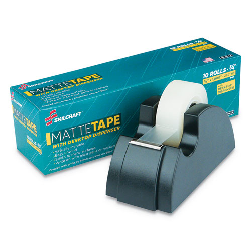 7510015806224 SKILCRAFT Desktop Tape Dispenser, 1 Core, Black, Includes 10 Matte Rolls