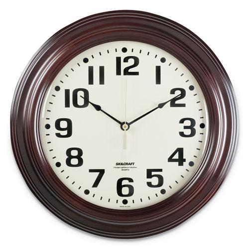6645014216904 SKILCRAFT Mahogany Wall Clock, 16 Overall Diameter, Mahogany Case, 1 AA (sold separately)
