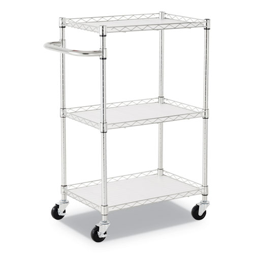 3-Shelf Wire Cart with Liners, 24w x 16d x 39h, Silver, 500-lb Capacity