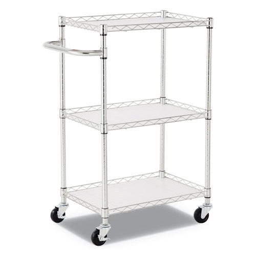 Alera® 3-Shelf Wire Cart with Liners, 24w x 16d x 39h, Silver, 500-lb Capacity