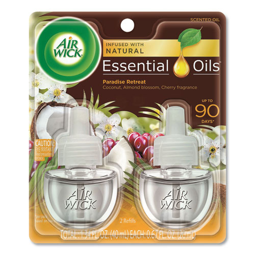 Air Wick® Life Scents Scented Oil Refills, Paradise Retreat, 0.67 oz, 2/Pack, 6 Packs/Carton