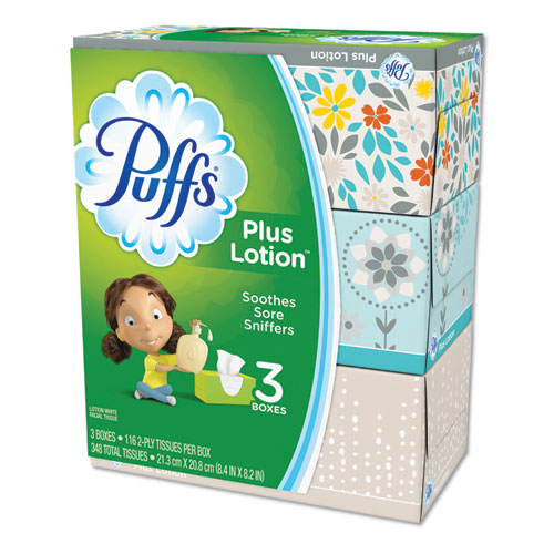 Plus Lotion Facial Tissue, 2-Ply, White, 116 Sheets/Box, 3 Boxes/Pack, 8 Packs/Carton