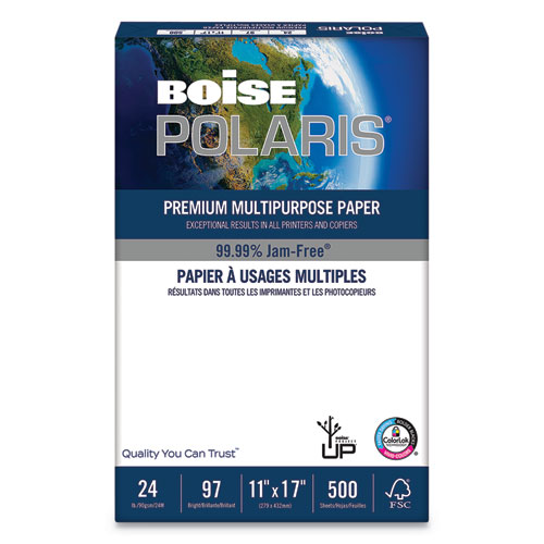 POLARIS Premium Laser Paper, 98 Bright, 24 lb, 11 x 17, White, 500/Ream | by Plexsupply