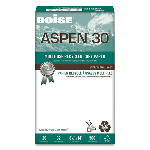 ASPEN 30 Multi-Use Recycled Paper, 92 Bright, 20lb, 8.5 x 14, White, 500 Sheets/Ream, 10 Reams/Carton