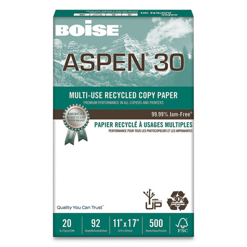 ASPEN 30 Multi-Use Recycled Paper, 92 Bright, 20lb, 11 x 17, White, 500 Sheets/Ream, 5 Reams/Carton