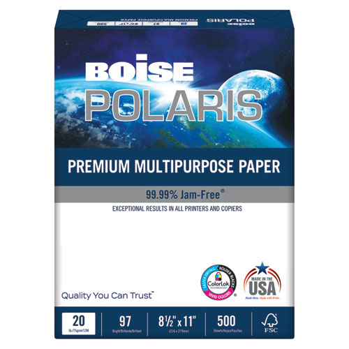 POLARIS Premium Multipurpose Paper, 97 Bright, 20lb, 8.5 x 11, White, 500 Sheets/Ream, 10 Reams/Carton | by Plexsupply